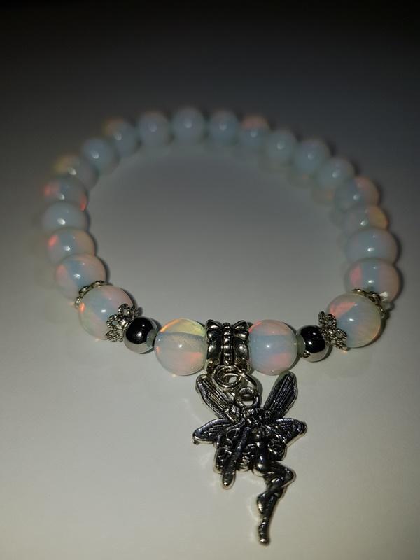 Moonstone bracelet with fairy