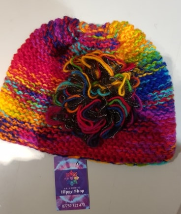Wooly Rainbow Beanie Hat with Flower