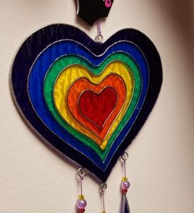 Sun Catcher in Rainbow Heart
