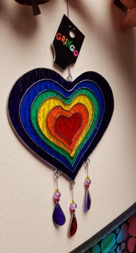 Sun Catcher in Rainbow Heart