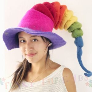 Felt Hat in Rainbow Colours Pixie