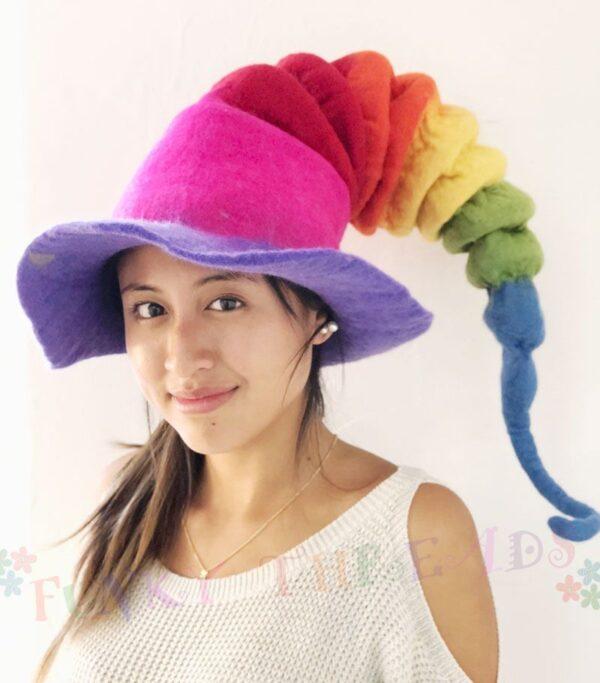 Felt Hat in Rainbow Colours Pixie
