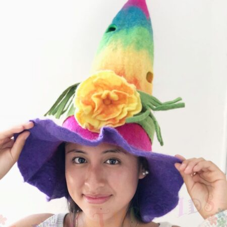 Felt Hat in Rainbow Colours with Flower