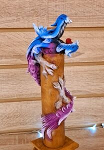 Colourful Dragon Incense Ashcatcher Blue Purple