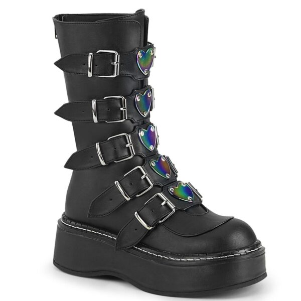 Demonia Boots Emily 330 Black Buckle Vegan Ethnic