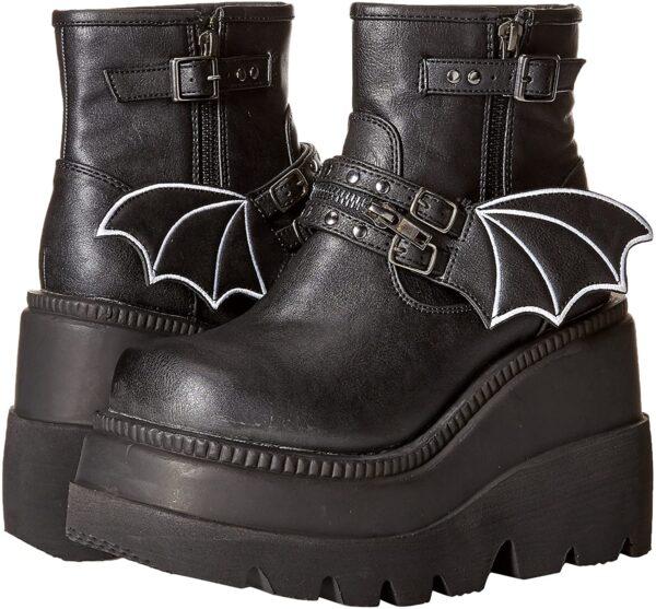 Demonia Boots Shaker 55 Black Bat Vegan Ankle