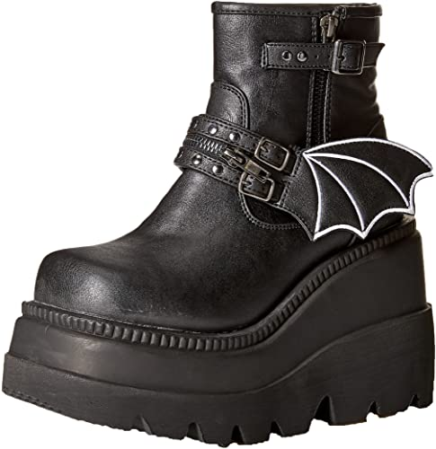 Demonia Boots Shaker 55 Black Bat Vegan Ankle Cool