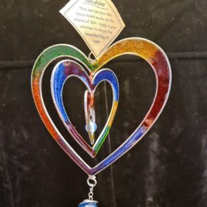 Suncatcher Rainbow Heart Sparkly