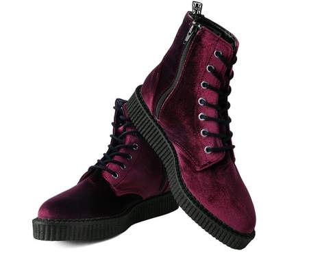 TUK Shoes Boots Burgundy Velvet High Sole Creeper Large