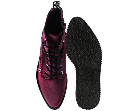 TUK Shoes Boots Burgundy Velvet High Sole Creeper Medium