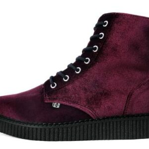 TUK Shoes Boots Burgundy Velvet High Sole Creeper Small
