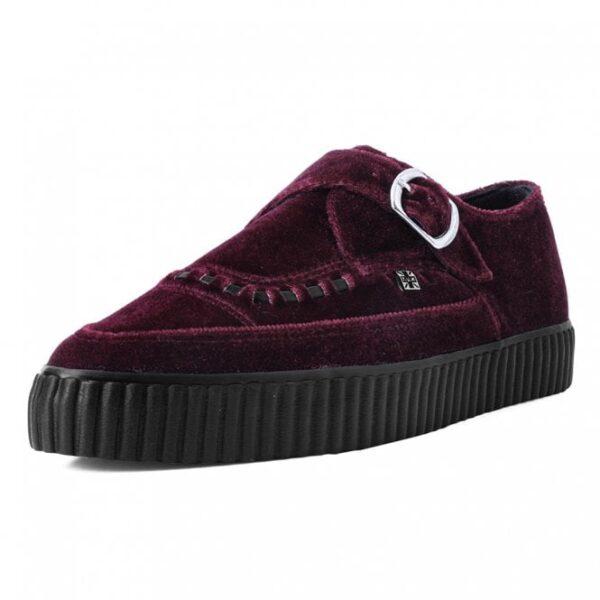 TUK Shoes Burgundy Velvet Monk Buckle Pointed Creeper Sneaker Cool