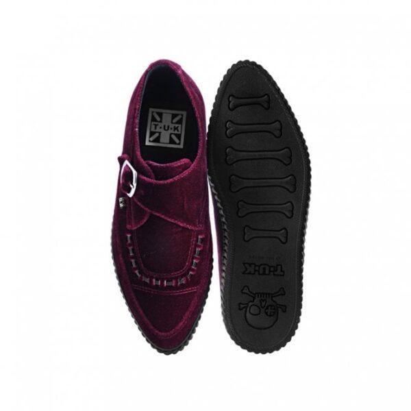TUK Shoes Burgundy Velvet Monk Buckle Pointed Creeper Sneaker Large