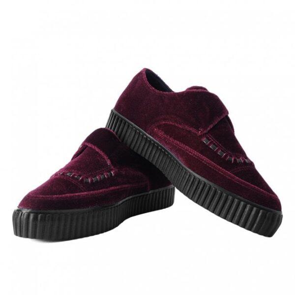 TUK Shoes Burgundy Velvet Monk Buckle Pointed Creeper Sneaker Medium