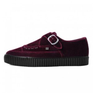 TUK Shoes Burgundy Velvet Monk Buckle Pointed Creeper Sneaker Small