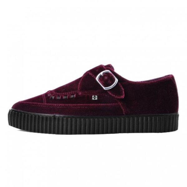 TUK Shoes Burgundy Velvet Monk Buckle Pointed Creeper Sneaker Small