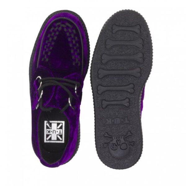 TUK Shoes Violet Purple Velvet Viva High Sole Creeper Cute
