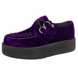 TUK Shoes Violet Purple Velvet Viva High Sole Creeper Medium