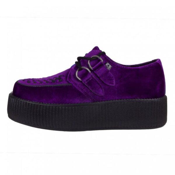 TUK Shoes Violet Purple Velvet Viva High Sole Creeper Small