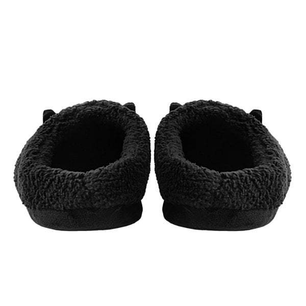 TUK Slippers Black Fuzzy Fur Kitty Large