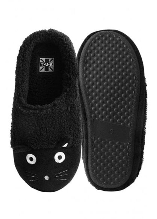 TUK Slippers Black Fuzzy Fur Kitty Medium
