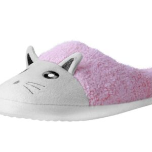 TUK Slippers Pink White Fuzzy Fur Kitty Medium