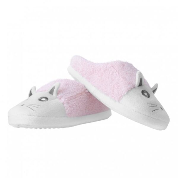 TUK Slippers Pink White Fuzzy Fur Kitty Small