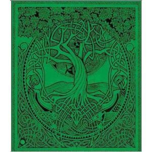 Hand Printed Bed Spread Throw Green Tree Of Life
