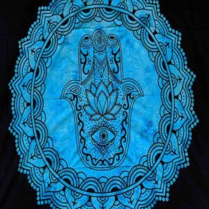Hand Printed Bed Spread Throw Hamsa Hand Blue