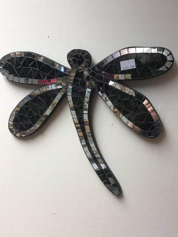 Hippy Mirror Dragonfly Black Sliver