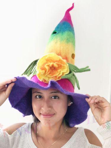 Felt Hat Rainbow Flower Point