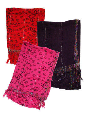 Scarf Peace Red Black Pink