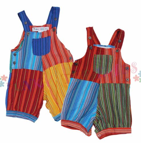 Children's Striped Patchwork Dungarees