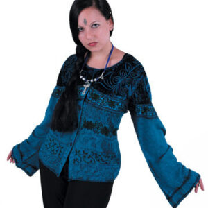 Embroidered Blue Velvet Top