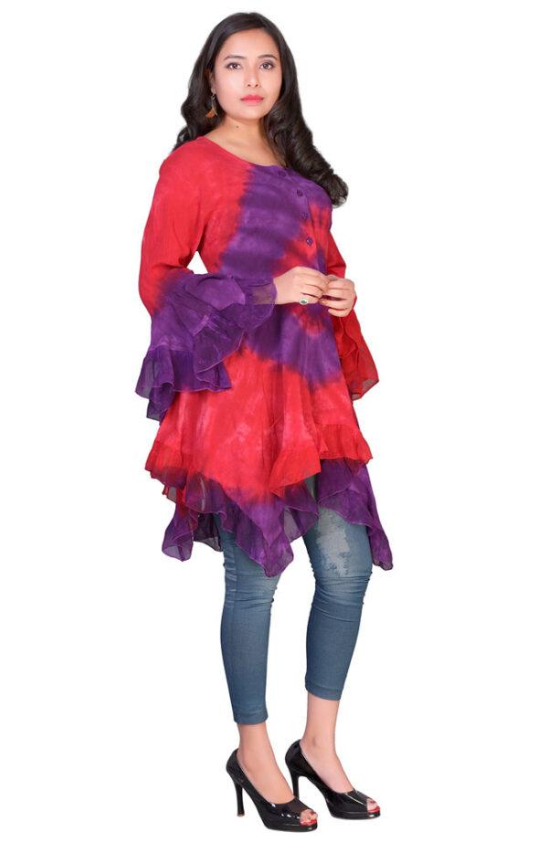 Floaty Tie Dye Top Purple Front