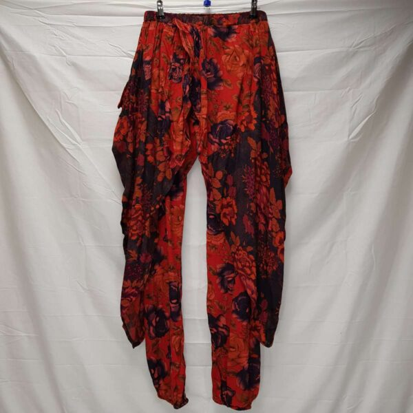 Flower Print Trousers Red