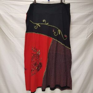 Flower Red Black Skirt