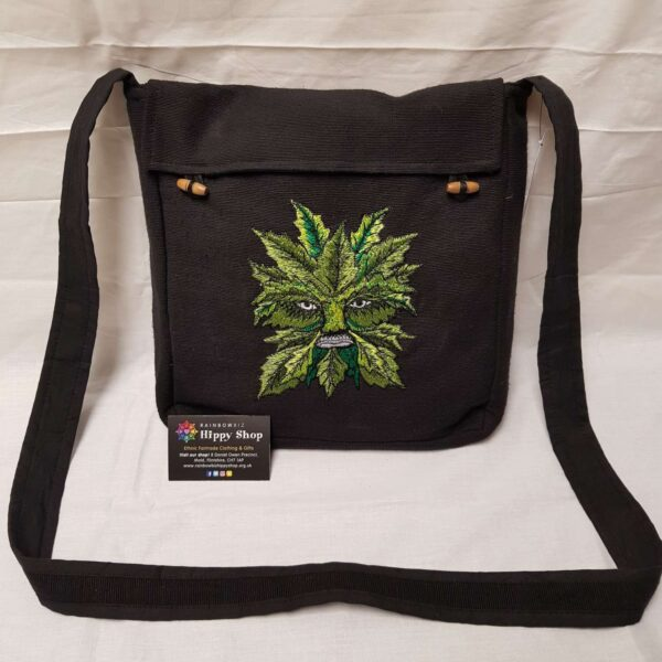 Green Man Messenger Bag Black
