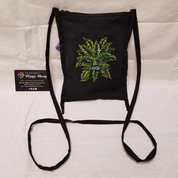 Green Man Passport Bag Black