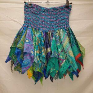 Layered Recycled Sari Skirt Blue