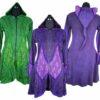 Long Velvet Jacket Green Purple