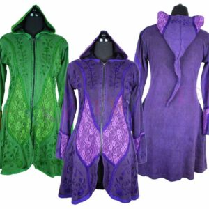 Long Velvet Jacket Green Purple