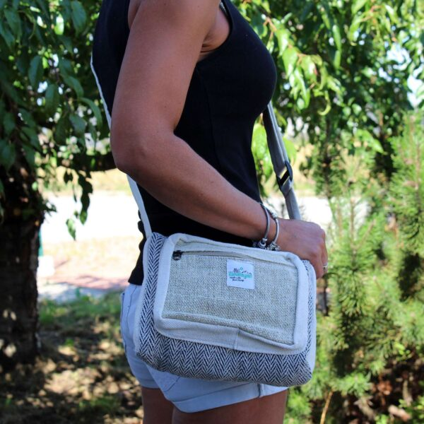 Messenger Bag Hemp Cotton Blue