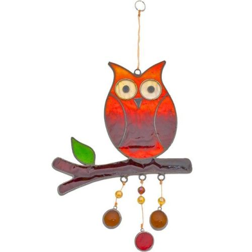 Owl on Branch Suncatcher
