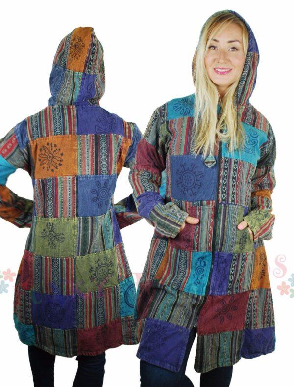Patchwork Fleece Lined Jacket Back
