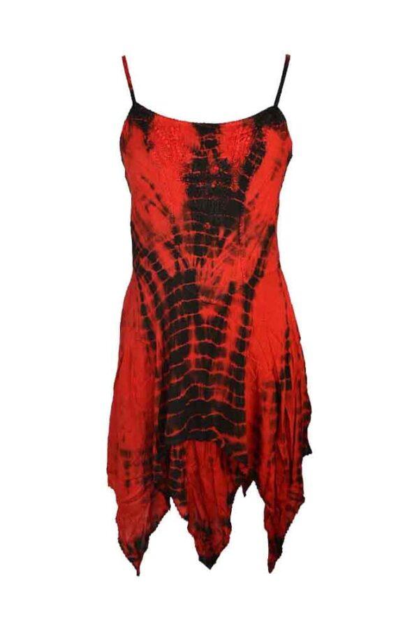 Pixie Hem Tie Dye Dress Red