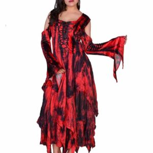 Shoulderless Velvet Dress Red