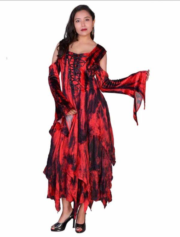 Shoulderless Velvet Dress Red
