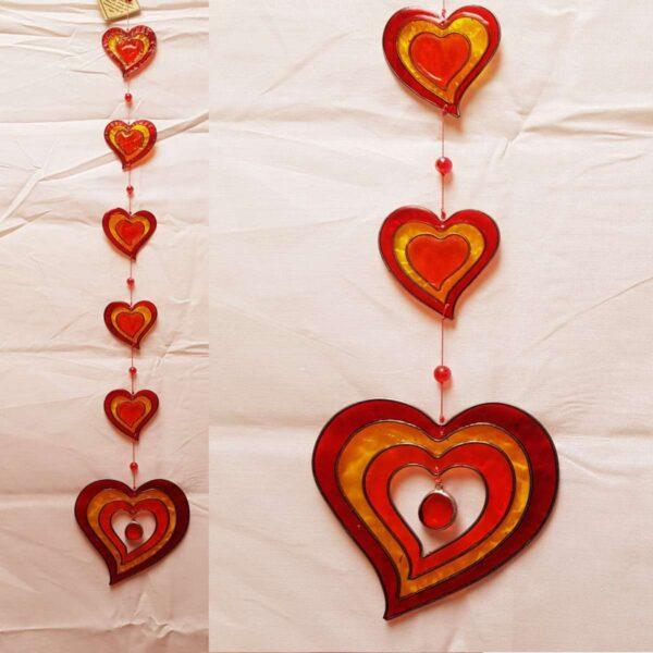 String Hearts Orange Gold Suncatcher