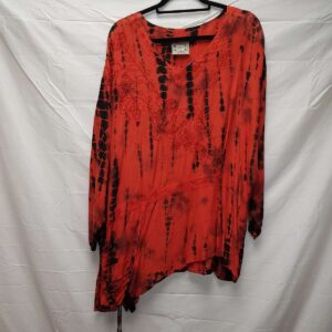 Tie Dye Drawstring Blouse Red